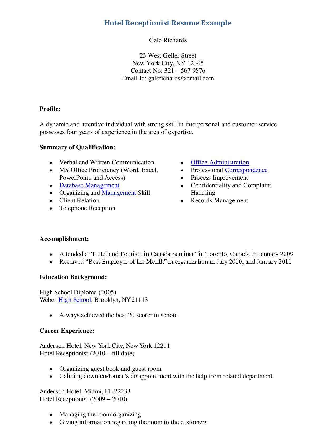 resume skills examples for receptionist resume ixiplay free