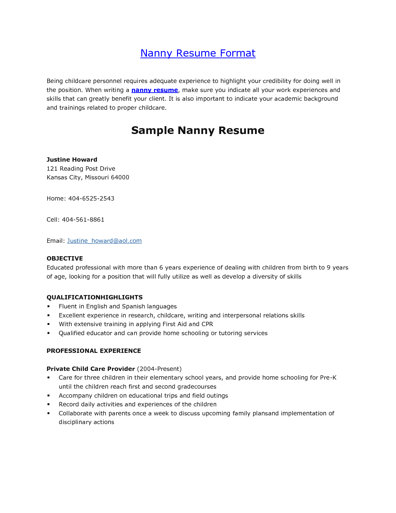 nanny description for resume