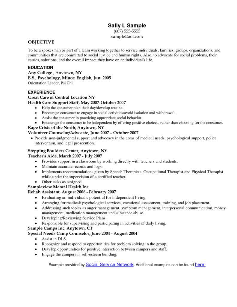 Social Work Resume Objective Statement SampleBusinessResume Com  Resume Goal Statements