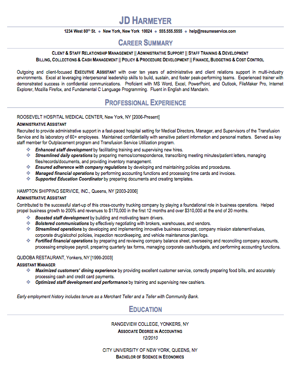 sample resumes for administrative assistant