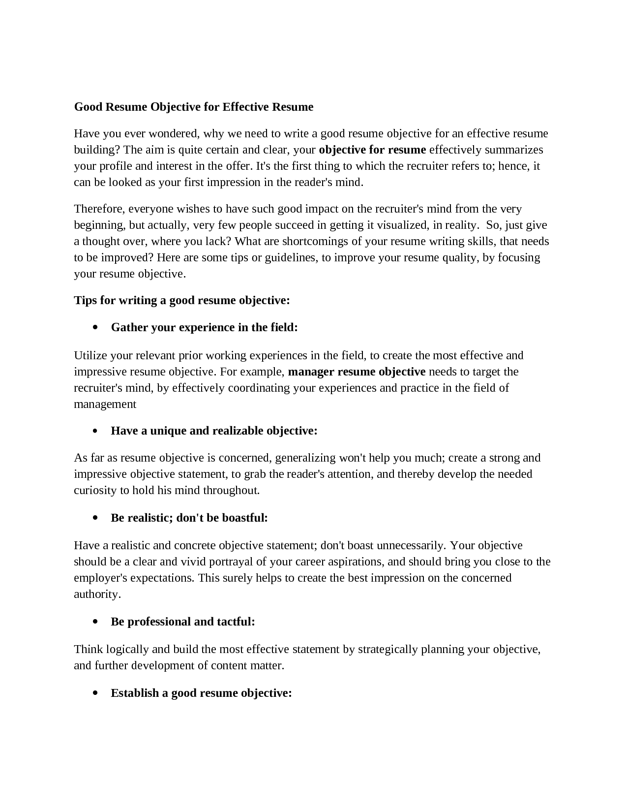 Good General Objective For Resume 10 Great Good Resume Objectives Samplebusinessresume