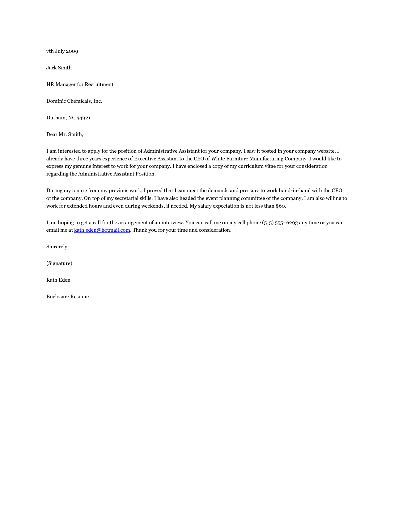sample office administration cover letter