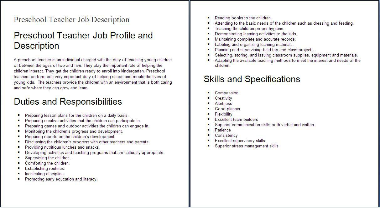 Education job descriptions preshool teacher job profile and description  SampleBusinessResume