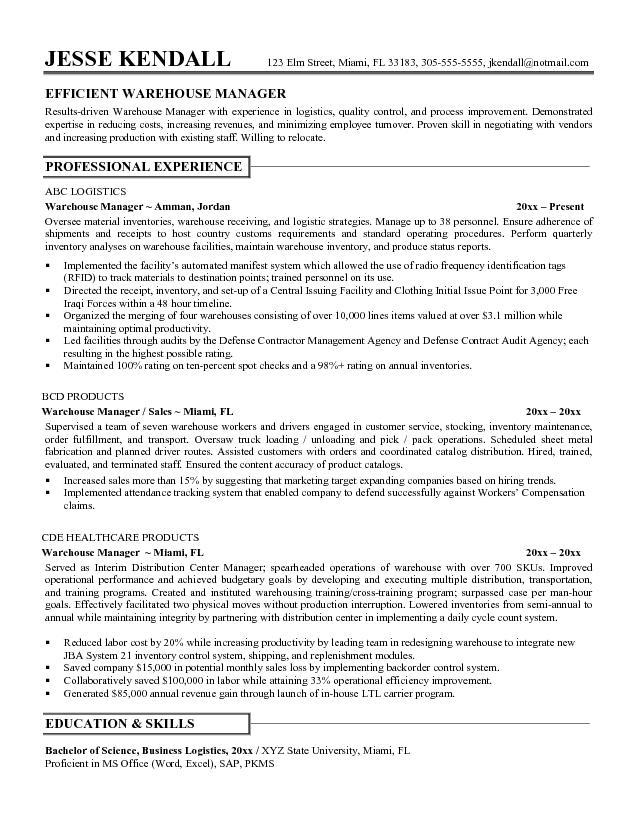 sample resume for warehouse manager in india