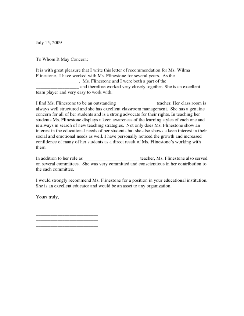 recommendation letter from teacher for student
