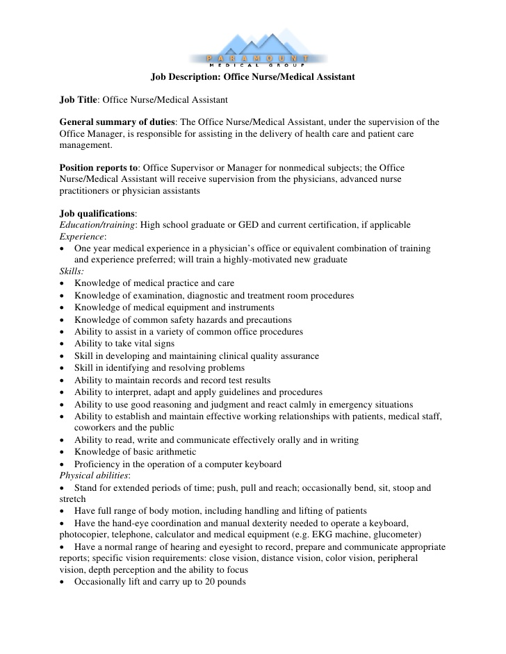 medical assistant job duties for resume