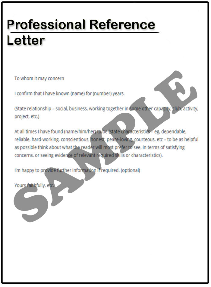 Professional Reference Letter Example