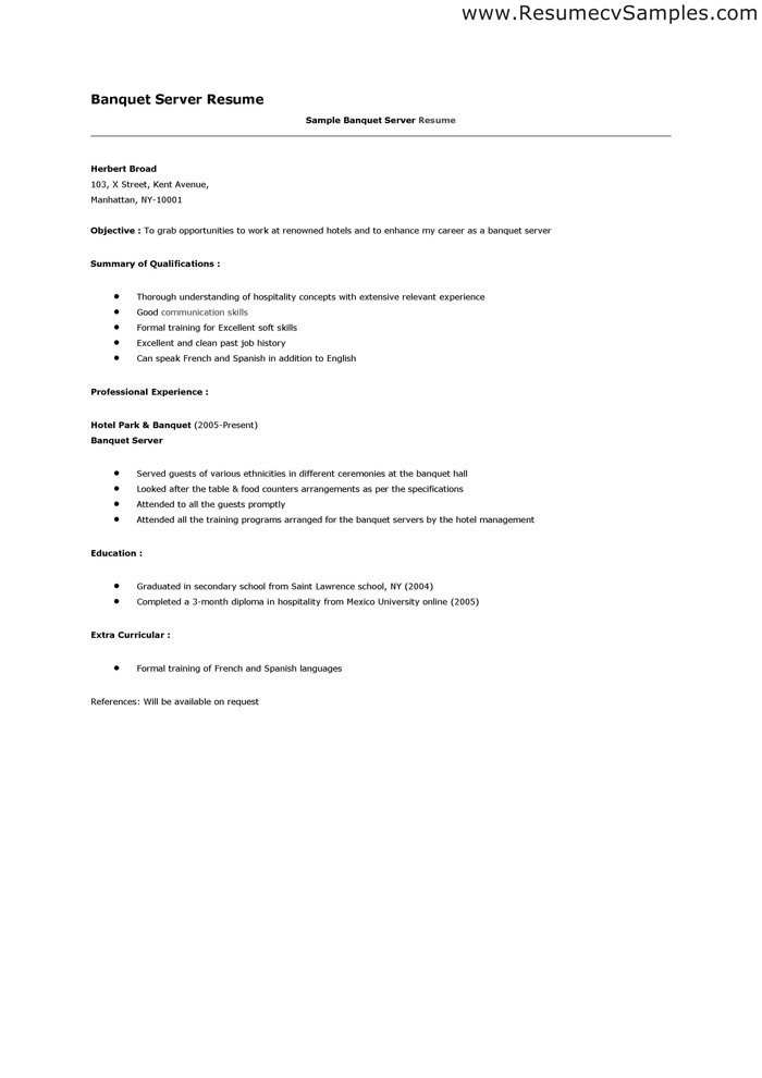 Server Resume Server Food Restaurant Resume Example Classic  Server Resume Examples
