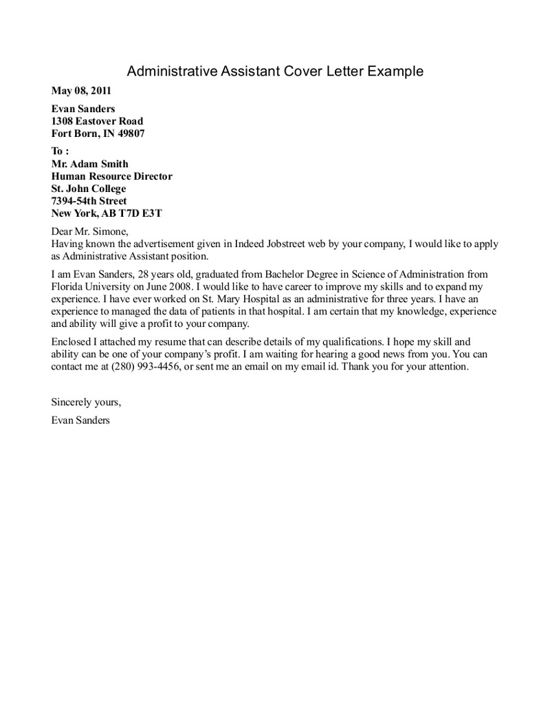 for administrative assistants office letter administrative assistant cover letter example
