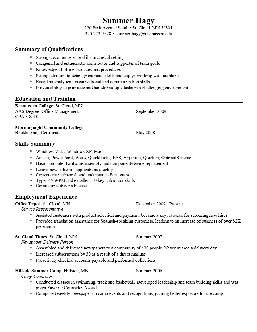 great example of resume