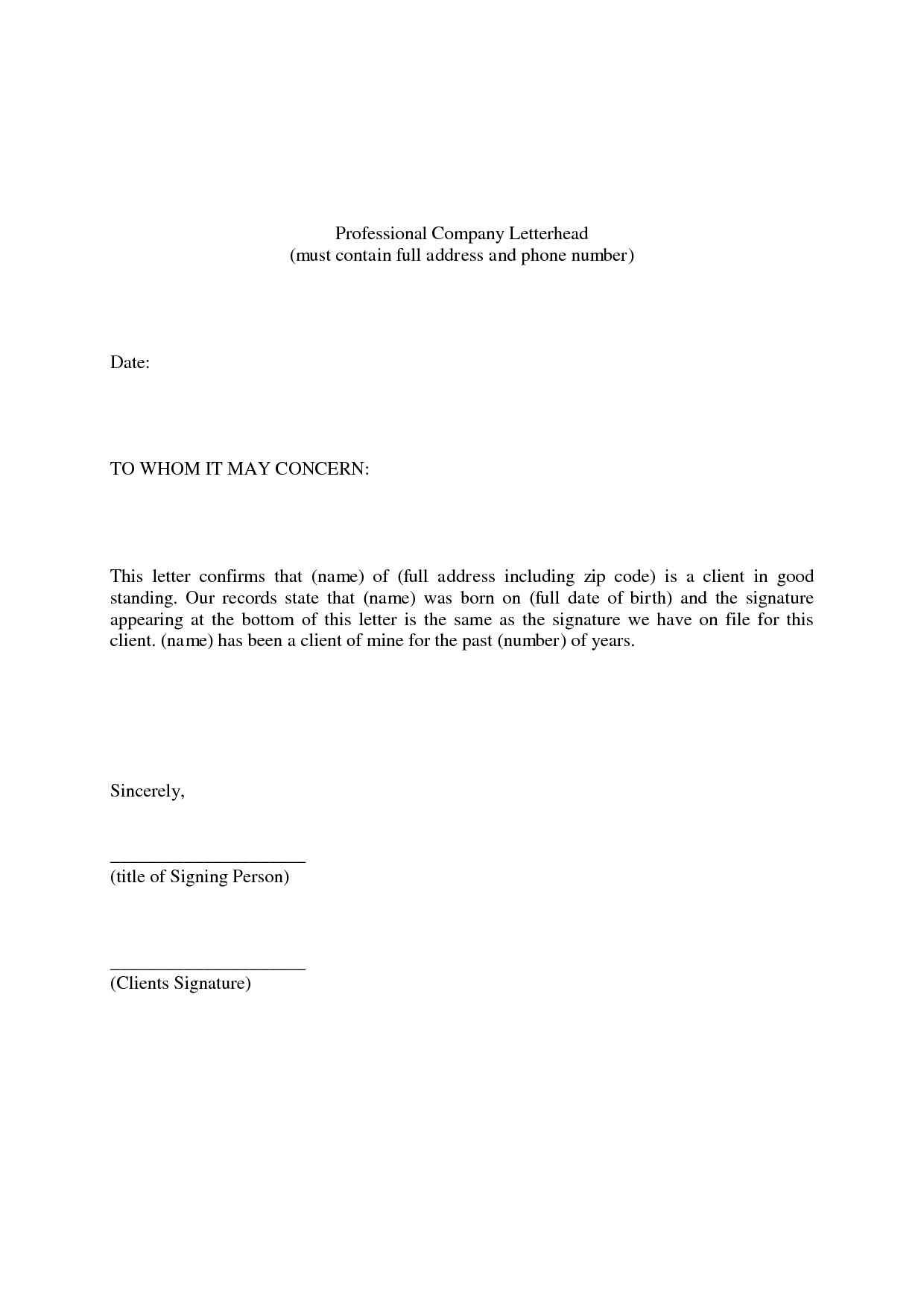 professional references template word