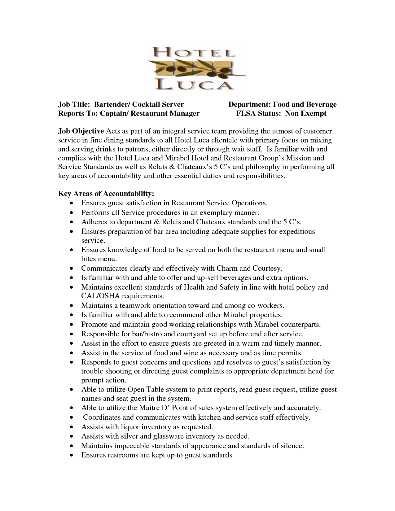 Restaurant Server Description For Resume Sample Resume For Cocktail Waitress Job Position