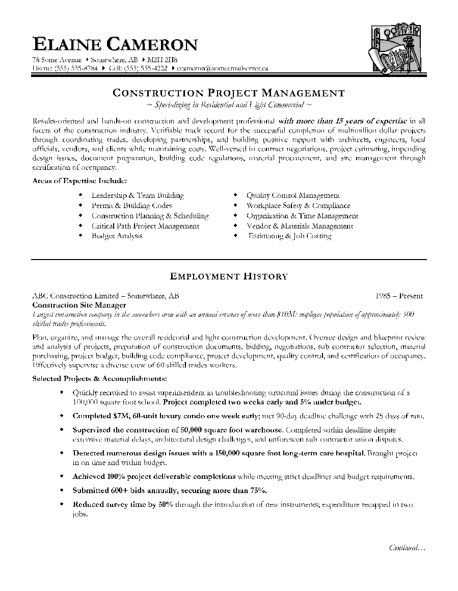 Construction Project Manager Resume Sample Employment History