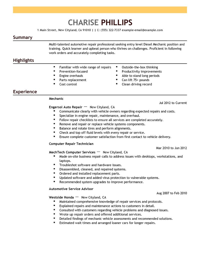 Entry Level Resume Examples Mechanic Installation Repair
