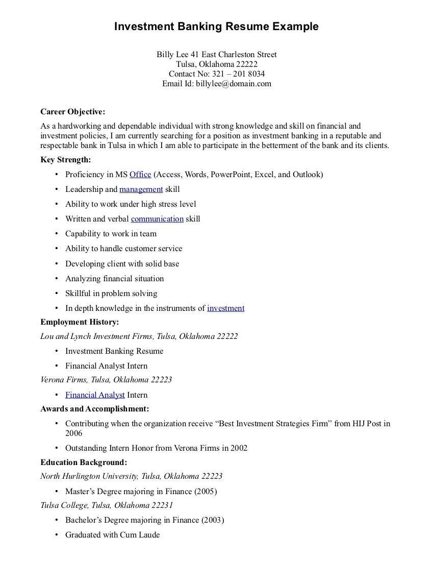Resume Examples Best Good Career Objective For Investment Banking  Objectives In Resume Examples