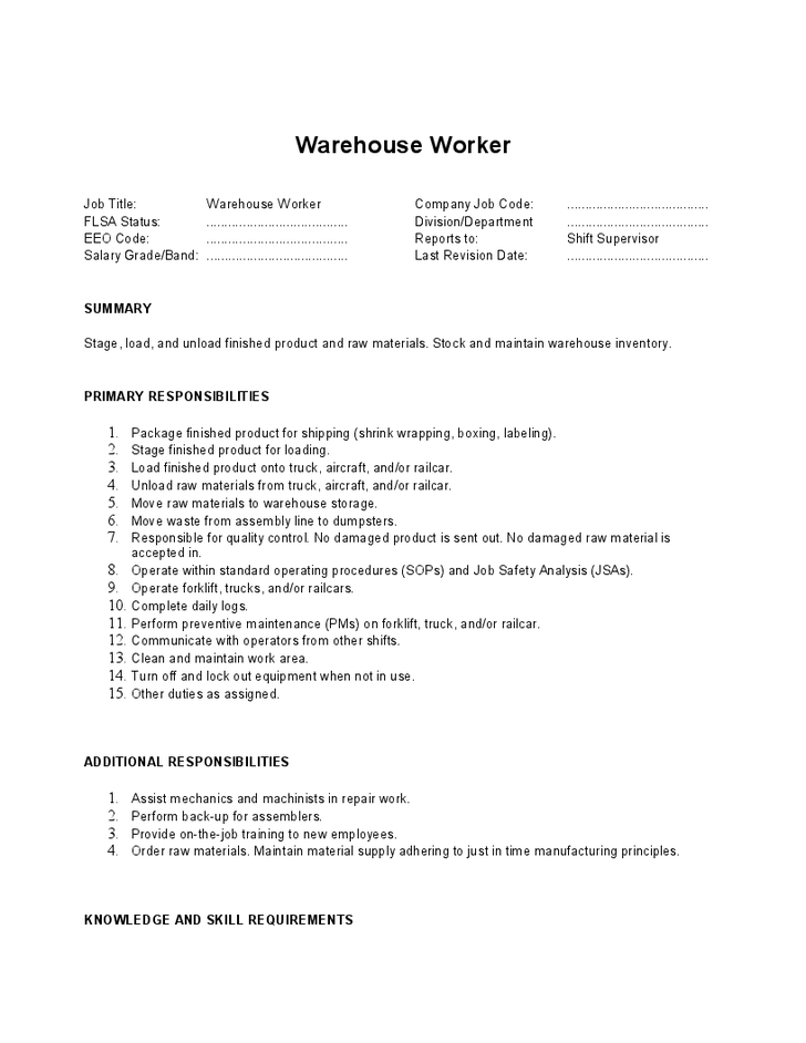 2016 Warehouse Job Description SampleBusinessResume Com