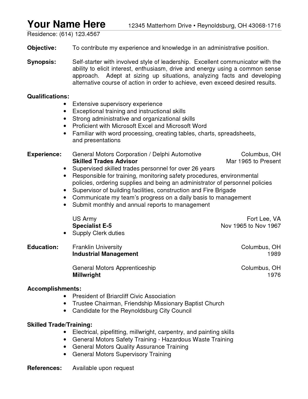 resume objective sample general