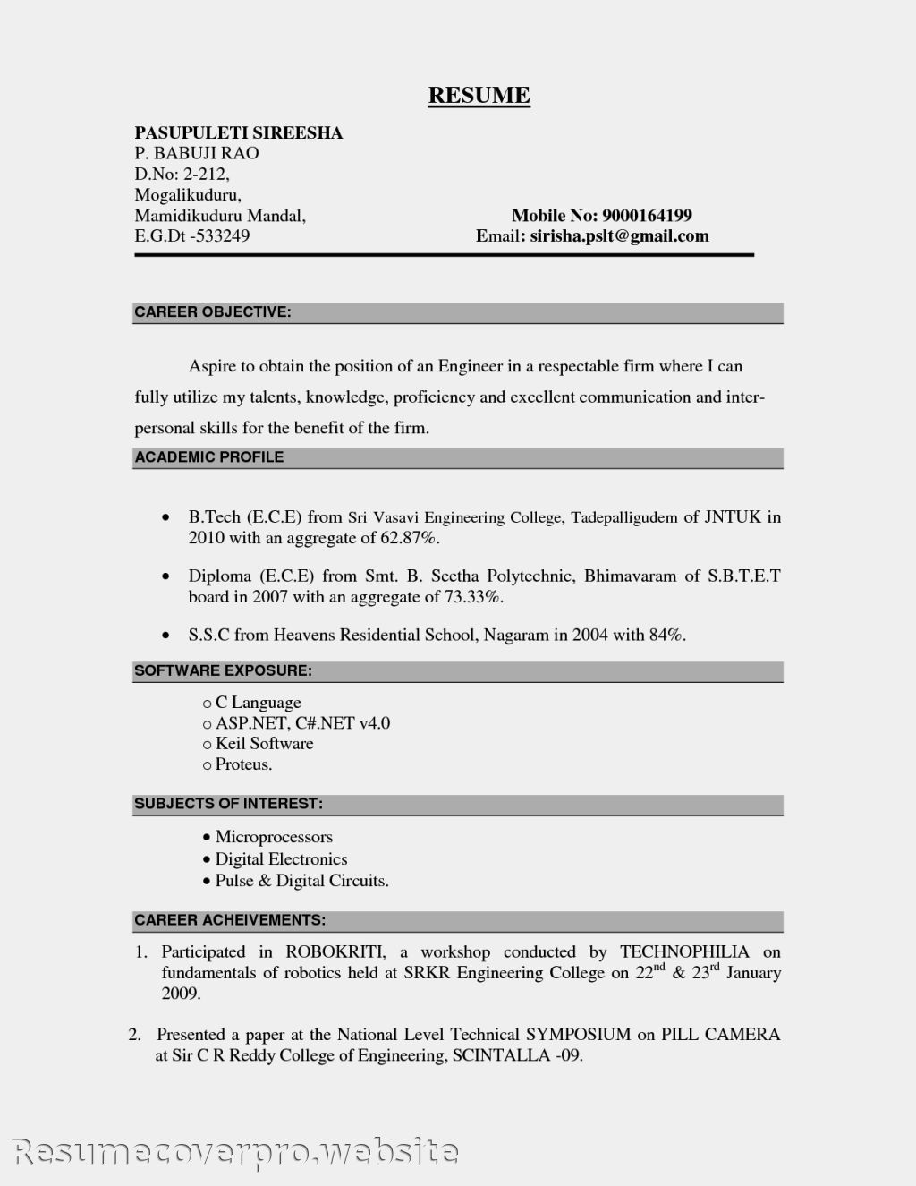 Sample Of A Resume For A Job Best Career Objective For Resume 2016