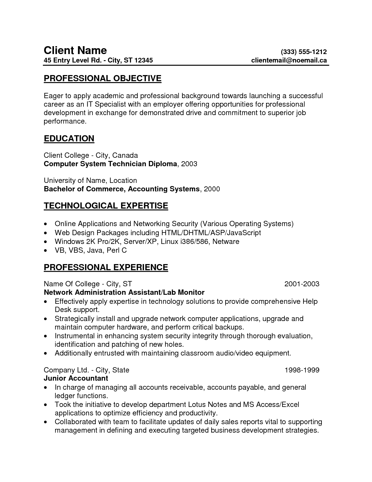 Career Objective For Biotechnology Resume Entry Level Resume Professional Objective And Professional