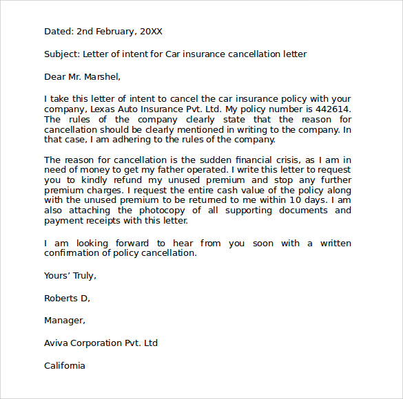 Car Insurance Cancellation Letter Sample