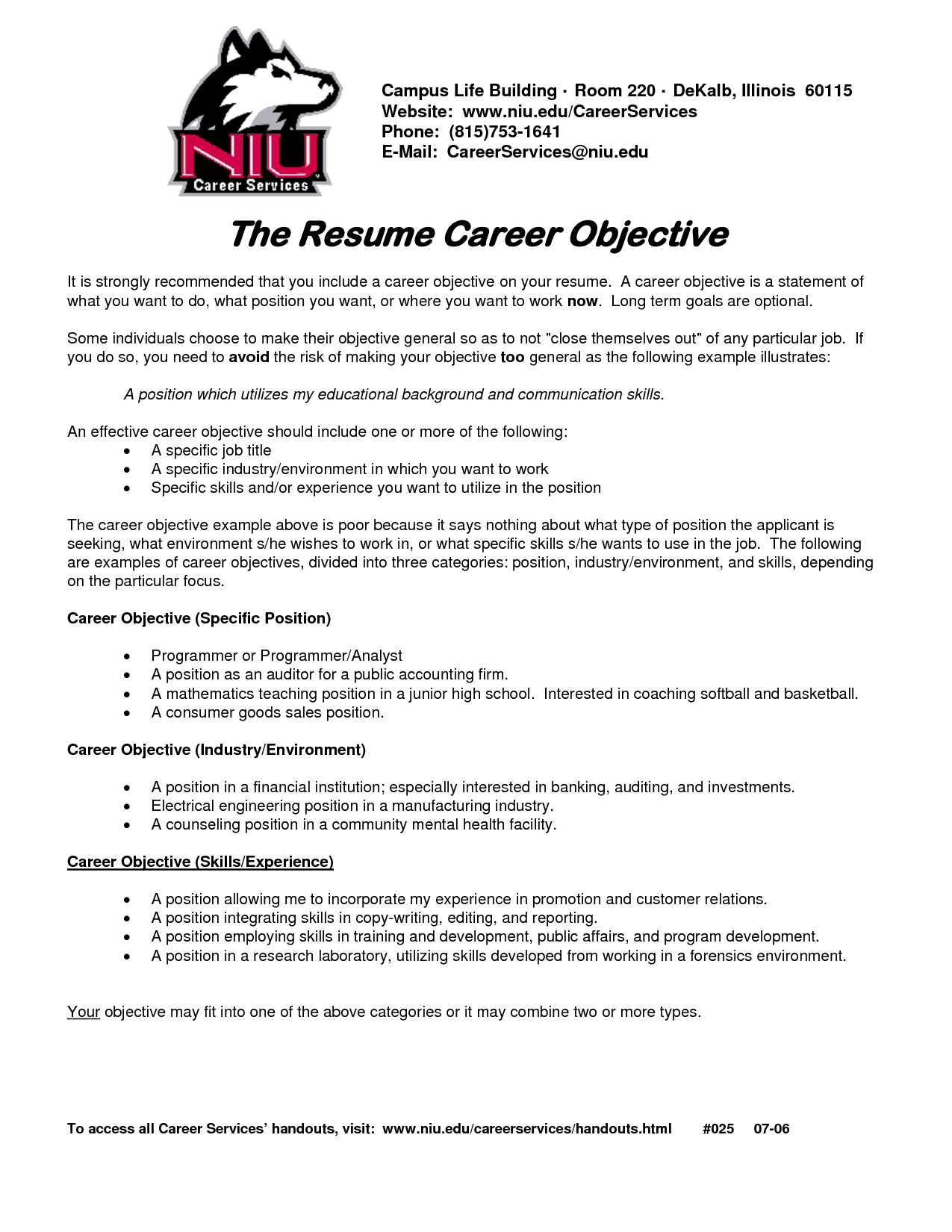 Career Objective Resume Examples Free Download
