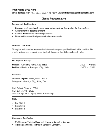 Claims Representative Resume Sample  SampleBusinessResume