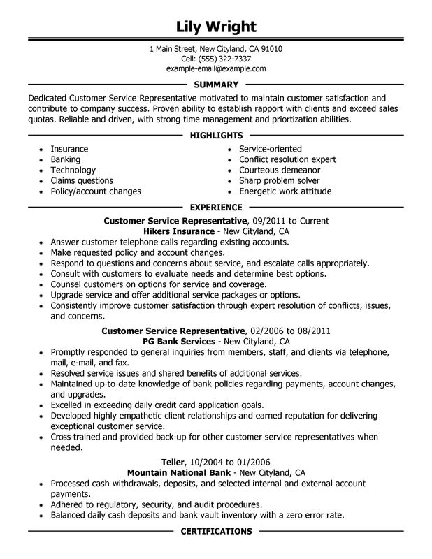 Exceptional Customer Service Representative Resume Sample Summary Experience