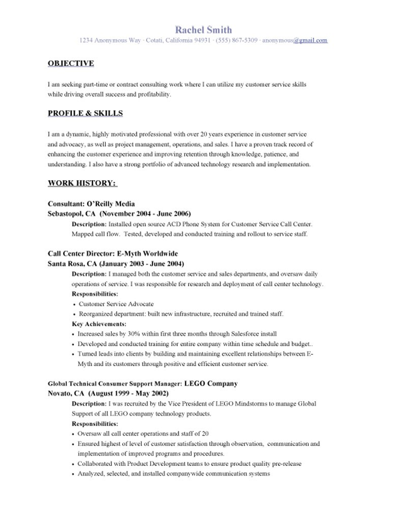 Objective Resume Examples Customer Service - Examples of Resumes