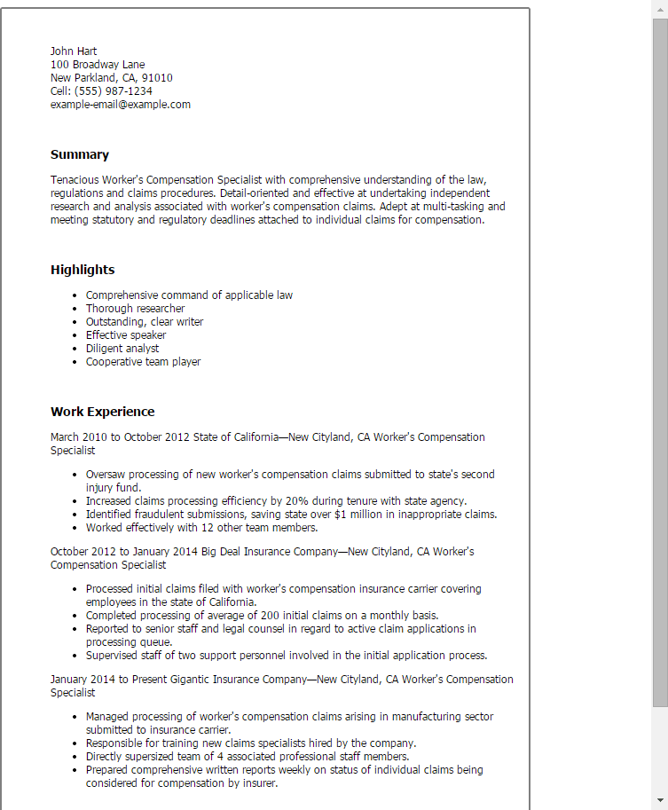 Insurance Specialist Resume Sample SampleBusinessResume