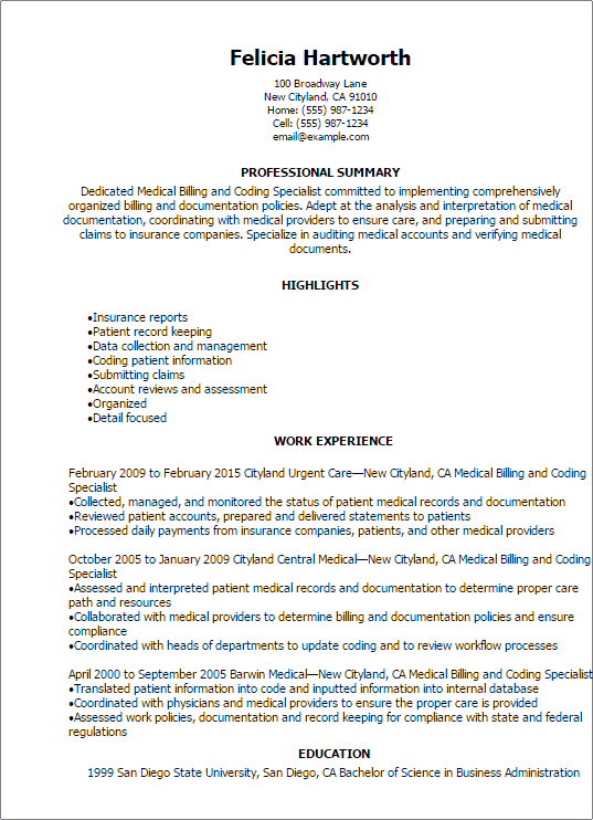 Medical Billing And Coding Specialist Resume Professional