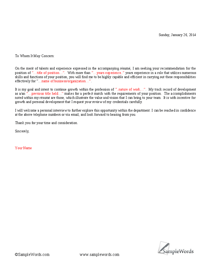 To Whom It May Concern Cover Letter  SampleBusinessResume