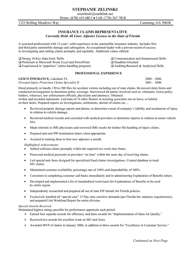 Insurance Agent Resume Objective Examples