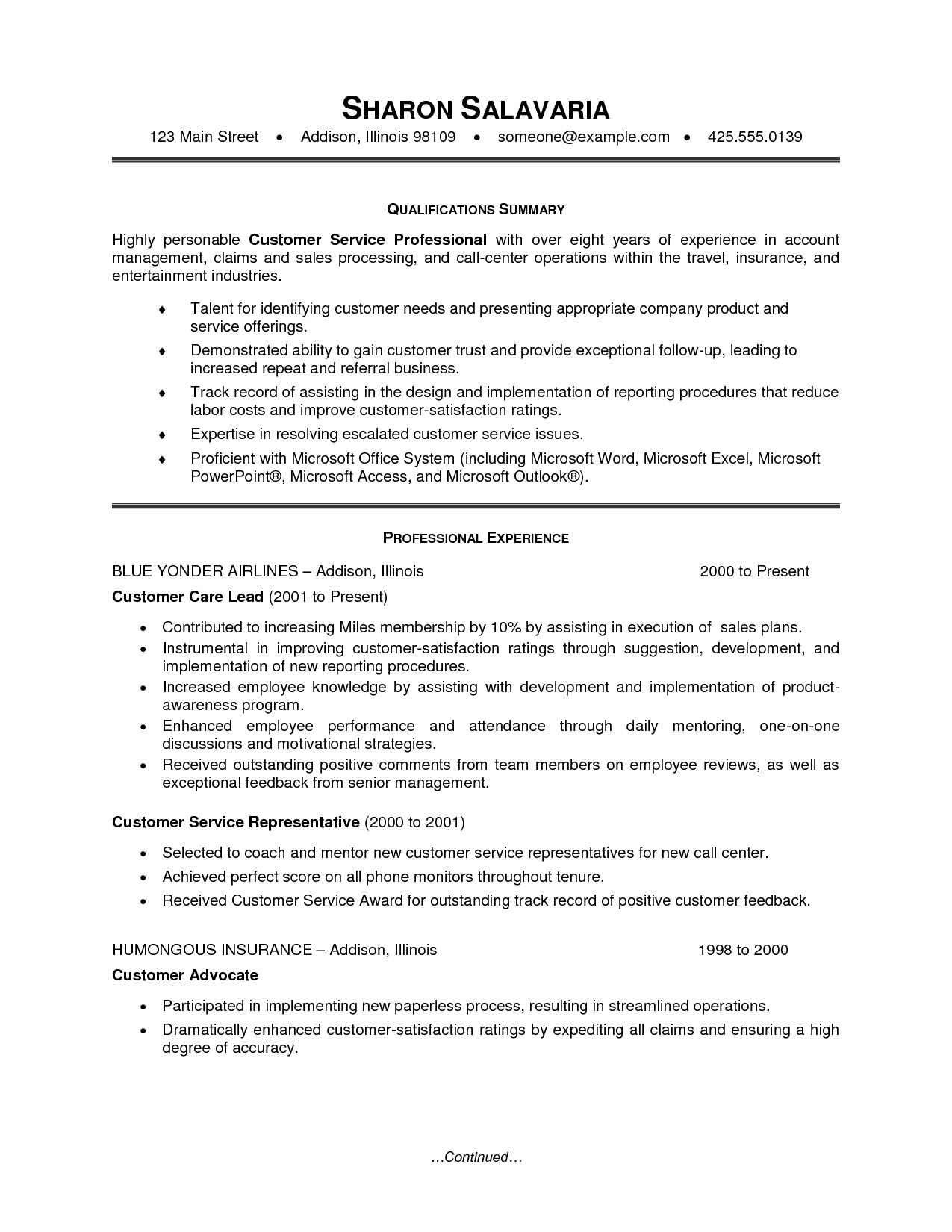 Resume Template For Customer Service Representative Claims Representative Resume Sample Samplebusinessresume