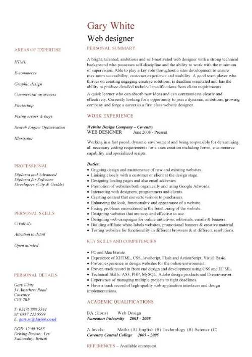 entry level web developer resume template designer cv - Resume Web Developer