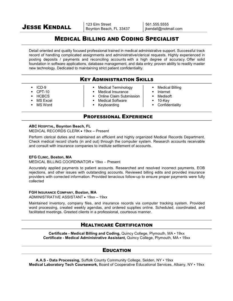 medical billing and coding specialist resume example - Resume Format For Doctors