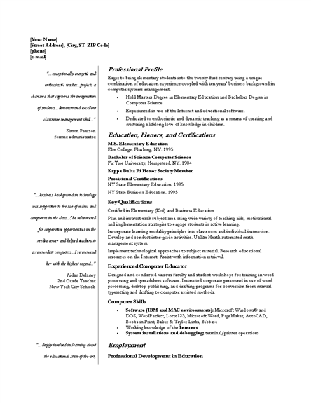 Professional Resume Template Key Qualifications