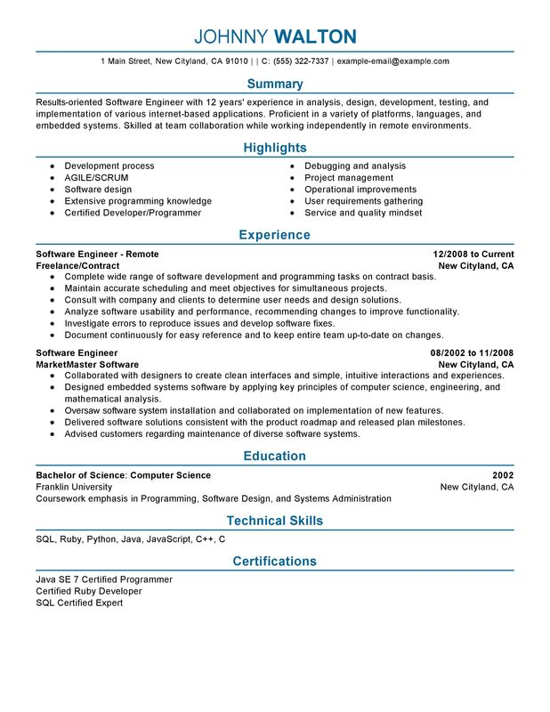 Remote Software Engineer Resume Sample Summary Highlights