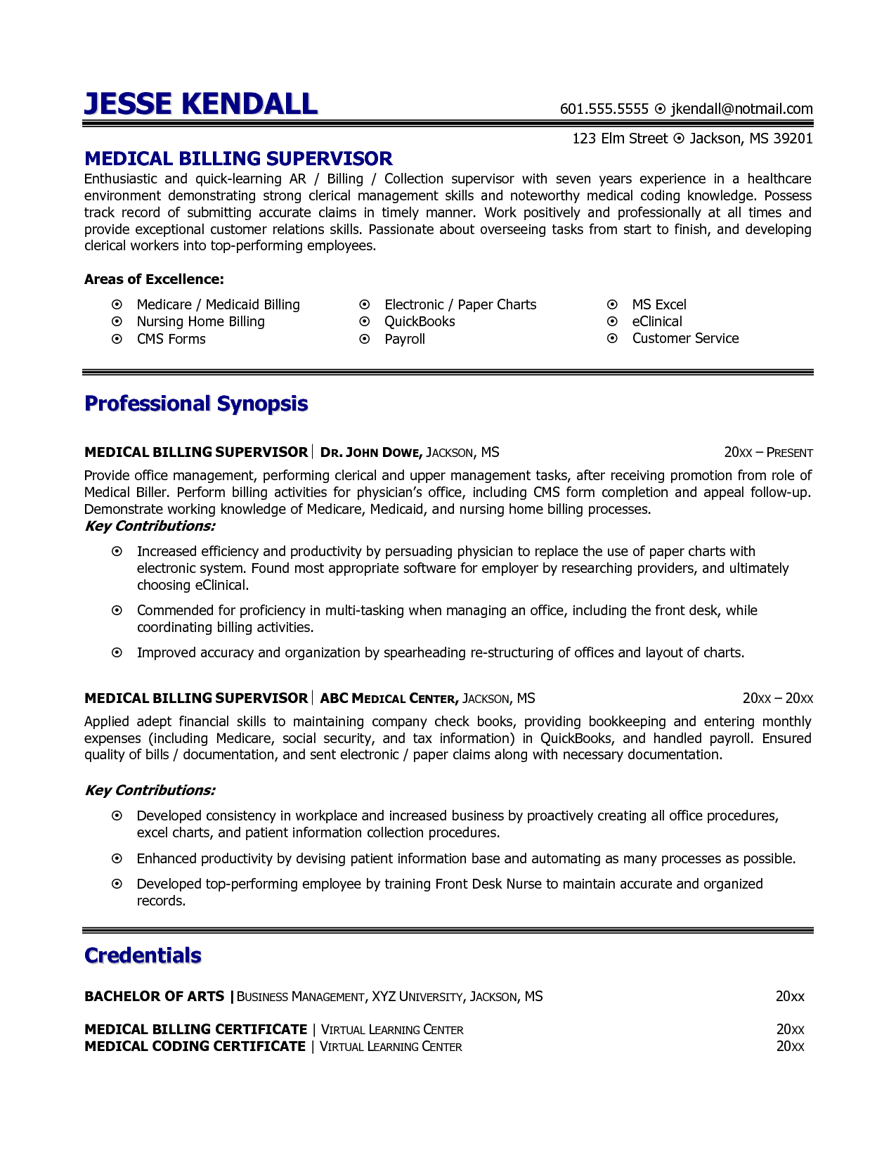 Resume Examples Healthcare Medical Billing And Coding Resume Example