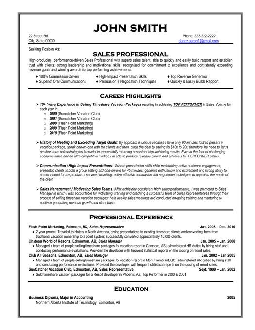 Sales Professional Resume Template Career Highlights