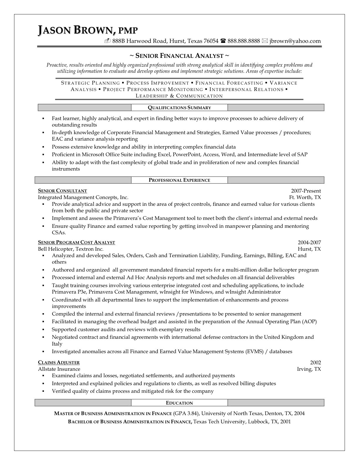 Resume In Finance Best Financial Analyst Job Resume Sample