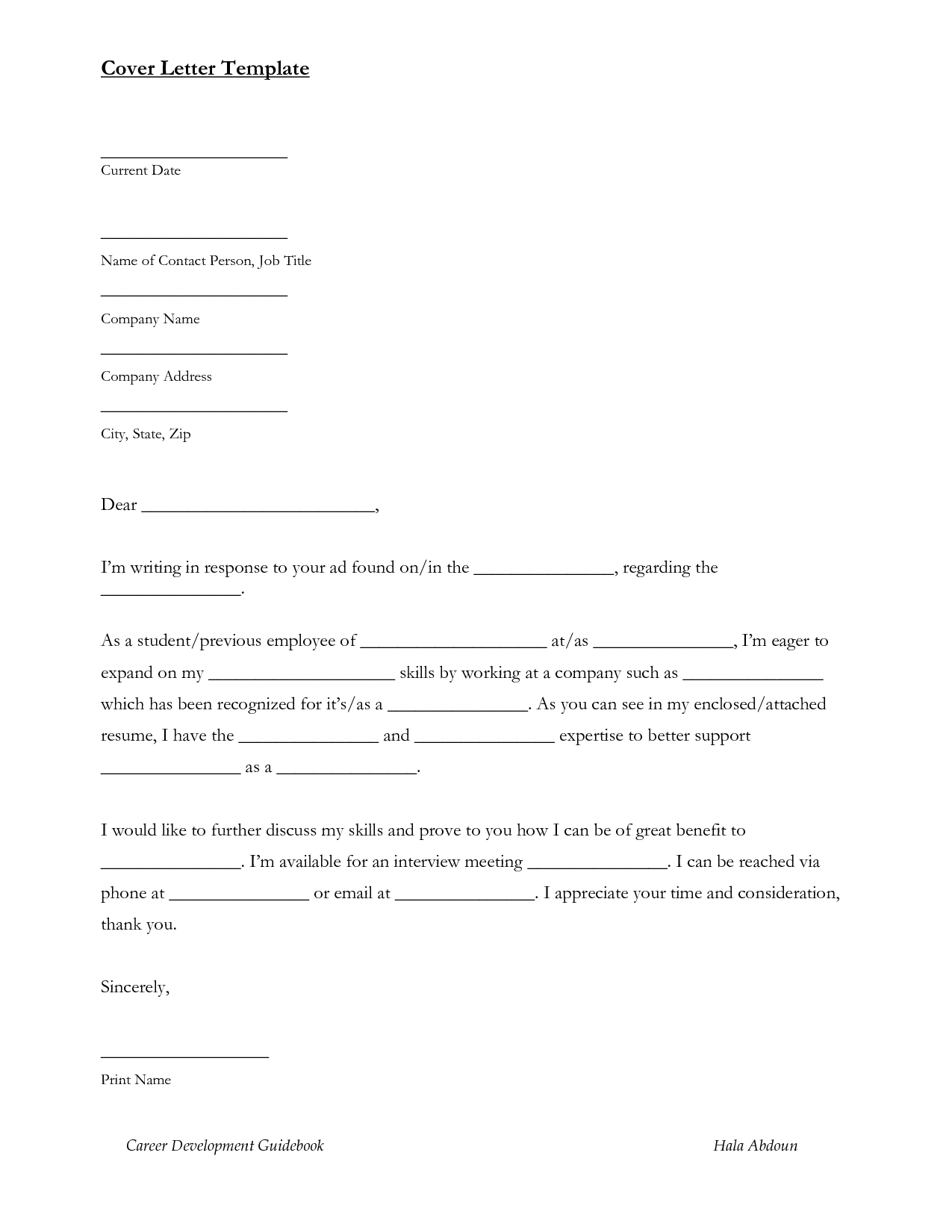 Cover Letter For Resume Template Word