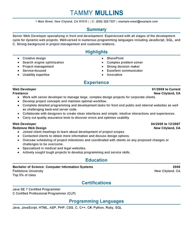 Web Developer Resume Sample Summary Highlights Experience