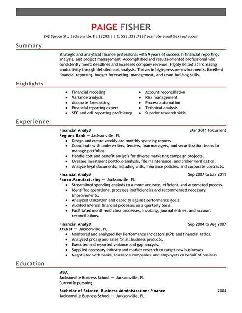 Best Financial Analyst Resume Example Emphasis Summary Highlights