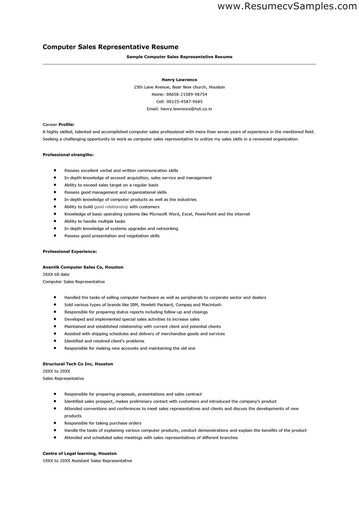 Resume Sales Representative Job Description Sample