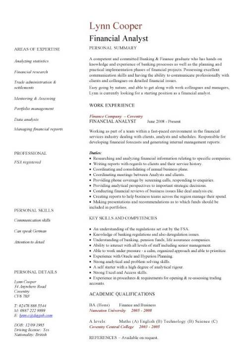cv example in english finance