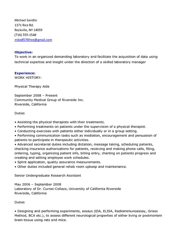 Good Physical Therapy Technician Resume Sample  SampleBusinessResumecom  SampleBusinessResumecom