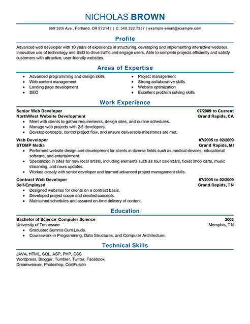 sample resume objective for web developer