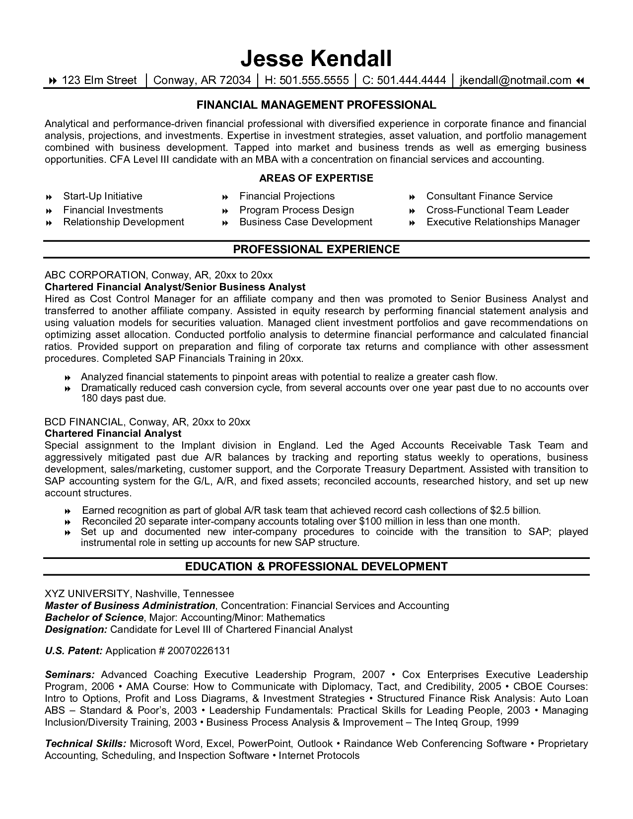Resume Financial Management Professional Analyst