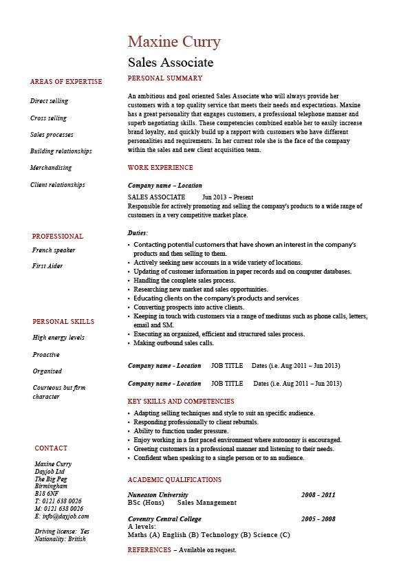 work resume sample retail sales