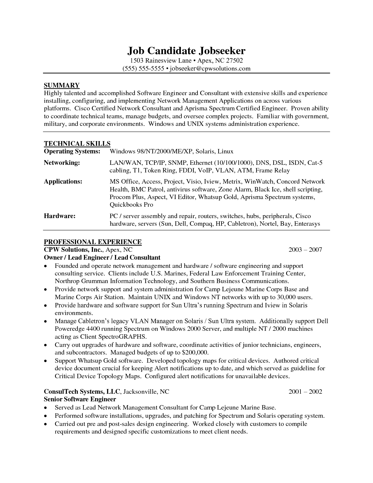 Service Engineer Resume Format How To Write Software Engineer Resume